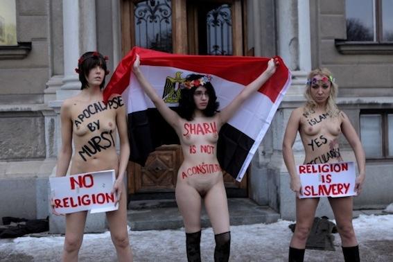 Alia al Mahdi en FEMEN uit de kleren voor vrijheid Egypte | George ...