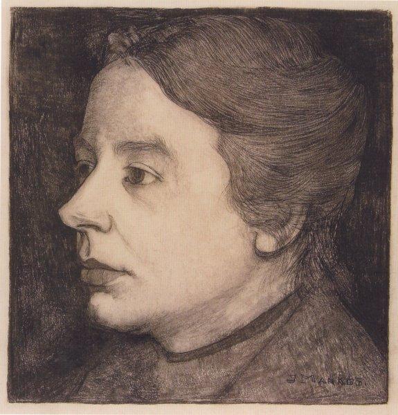 Anne Zernike, getekend door haar man Jan Mankes