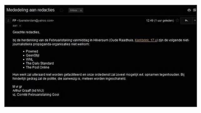 Bij herdenking Februaristaking Hilversum weigeren